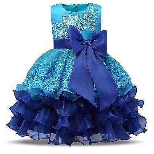 Nnjxd Girl Ruffles Vintage Embroidered Sequins Flower Wedding Dress: Girls Clothing- Shop MIXXCI