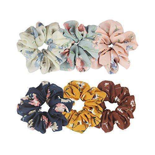 Ondder Large Chiffon Flower Hair Scrunchies Hair Bow Chiffon Ponytail Holder Bobbles Elastic Colorful Scrunchy Hair Bands Ties, 6 Pieces: - Shop MIXXCI