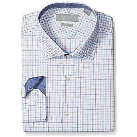 Perry Ellis Collection Men'S Slim Fit Stretch Multicolor Check Dress Shirt With Collar: Mens Shirts- Shop MIXXCI
