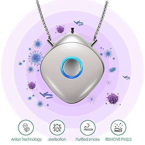 Portable Air Purifier, Necklace Wearable, Mini/Travel Size USB Charging, Air Freshener Ionizer, Eliminates Smoke Smell/Odors/Dust/Pollen,UV Disinfection, Negative Ion Purifier, Sterilization: - Shop MIXXCI