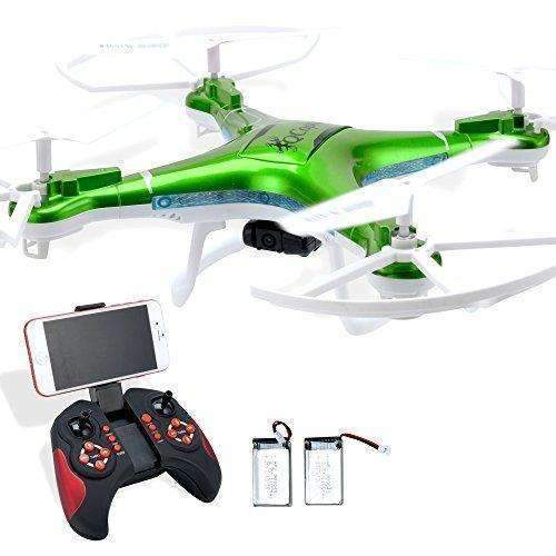 Quadcopter Drone With Camera Live Video, Drones Fpv 1080P Hd Wifi Camera With Remote Control, Free Extra Battery And Quadcopters Crash Replacement Kit With Led Lights, Easy Use For Beginners Kids Grn: Hobbies- Shop MIXXCI