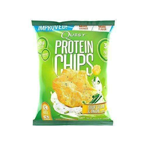 Quest Nutrition Protein Chips, Sour Cream & Onion, 21G Protein, 3G Net Carbs, 130 Cals, Low Carb, Gluten Free, Soy Free, Potato Free, Baked, 1.2Oz Bag, 8 Count, Packaging May Vary: Grocery & Gourmet Food- Shop MIXXCI
