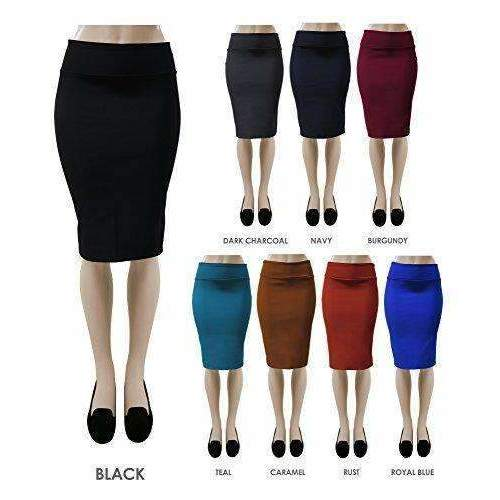 Red Hanger Women'S Bodycon Fitted Pull On Knee Length Midi Pencil Skirt: Womens Skirts - Night Out- Shop MIXXCI