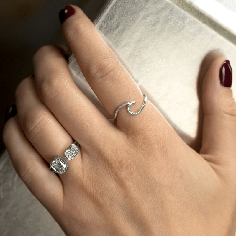 Rhodium Plated Wave Ring: Womens Rings- Shop MIXXCI