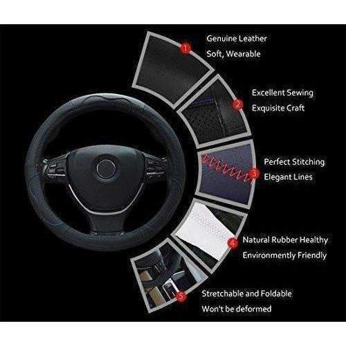 Rueesh Steering Wheel Cover - Genuine Leather, Sporty Curves, Durable, Thick, Anti-Slip, 15 Inch Middle Size - Black With Black Lines: New- Shop MIXXCI