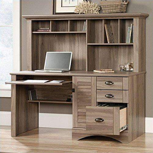 Sauder 415109 Salt Oak Finish Harbor View Computer Desk With Hutch: Desks & Workstations- Shop MIXXCI
