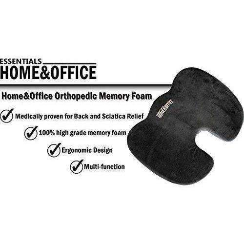 Seat Cushion By Essentials: Home & Office Orthopedic Memory Foam Office Chair And Car Seat Cushion For Back Pain And Sciatica Relief: New- Shop MIXXCI