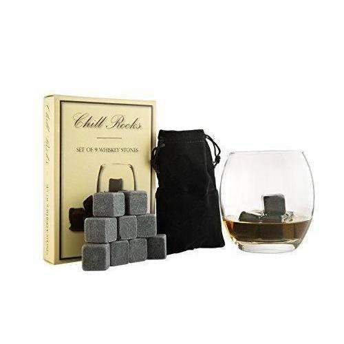 Set Of 9 Grey Beverage Chilling Stones [Chill Rocks] Whiskey Stones For Whiskey And Other Beverages - In Gift Box With Velvet Carrying Pouch - Made Of 100% Pure Soapstone - By Quiseen: Barware- Shop MIXXCI