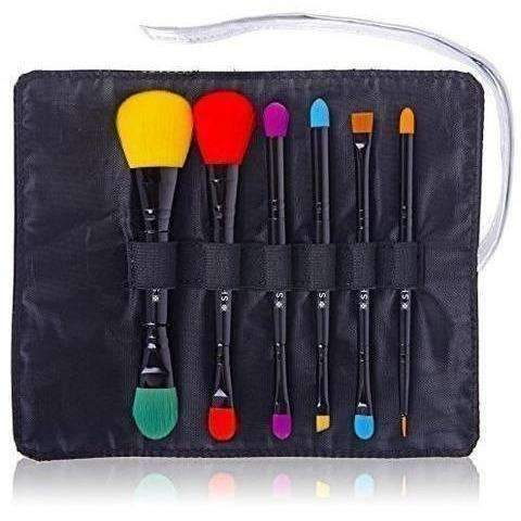 Shany 6 Piece Double Sided Travel Brush Set With Pouch Synthetic And Natural Hair, Luna: Tools & Brushes- Shop MIXXCI