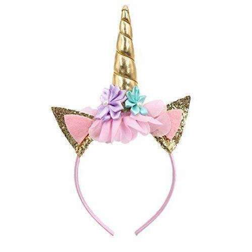 Sifan Glitter Unicorn Horn Head Band, Flowers Ears Bands For Party Decoration Or Cosplay Costume, Gold: Hair Care Products- Shop MIXXCI