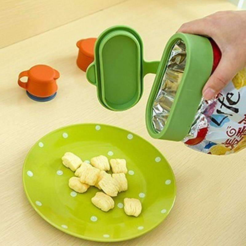 Snack Bag Seal To Keep Fresh And Moisture-Proof Three-Piece Set, Orange+Green: Kitchen & Dining- Shop MIXXCI