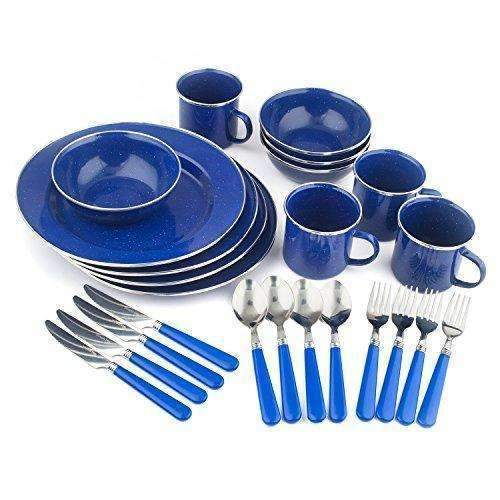 Stansport Enamel Camping Tableware Set, 24-Piece, Blue: Outdoor Recreation- Shop MIXXCI