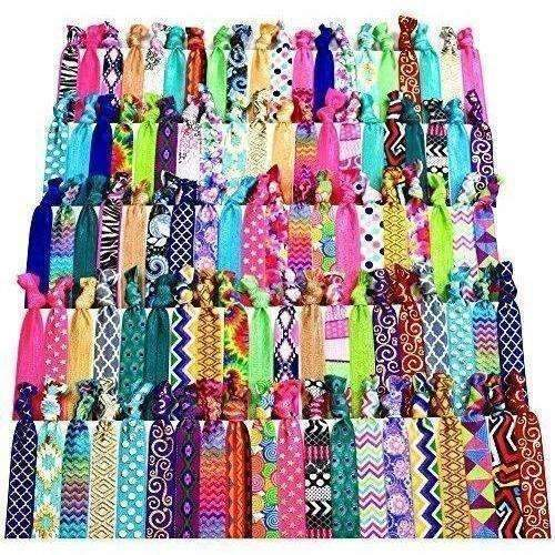Syleia 100 Hair Ties - Signature Collection Printed Patterns And Solid Colors - Elastic Ponytail Holders No Crease Hand Knotted Fold Over Assorted 100 Pack: New- Shop MIXXCI