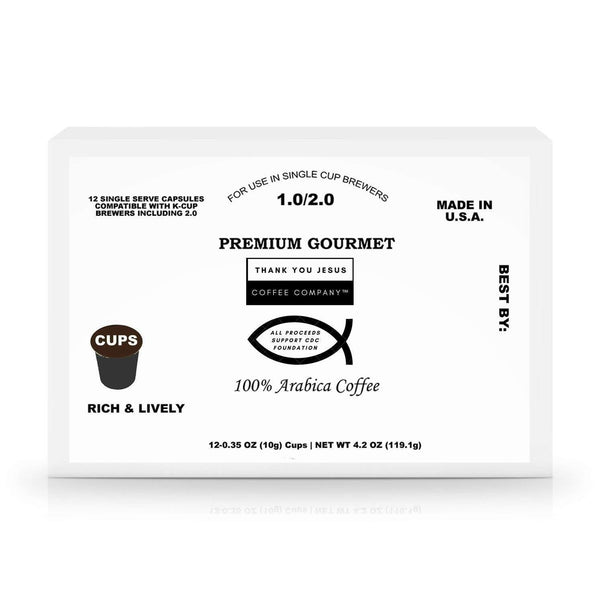 Thank You Jesus Coffee Company™ 12 Pack Single Coffee Capsules Support CDC to combat coronavirus: Coffee- Shop MIXXCI