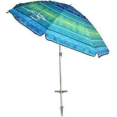 Tommy Bahama 2016 Sand Anchor 7 Feet Beach Umbrella With Tilt And Telescoping Pole (Green/Blue Stripe): Patio Furniture & Accessories- Shop MIXXCI