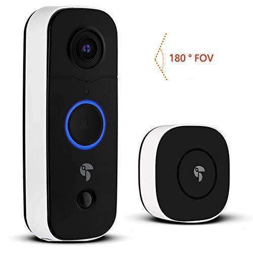 Toucan Wireless Video Doorbell | 180 Degree 1080p FHD | Night Vision | Motion Detection and Alerts | Easy-Installation | Rechargeable Battery | Weatherproof | Chime | 2.4GHz… (Wireless Video Doorbell): - Shop MIXXCI