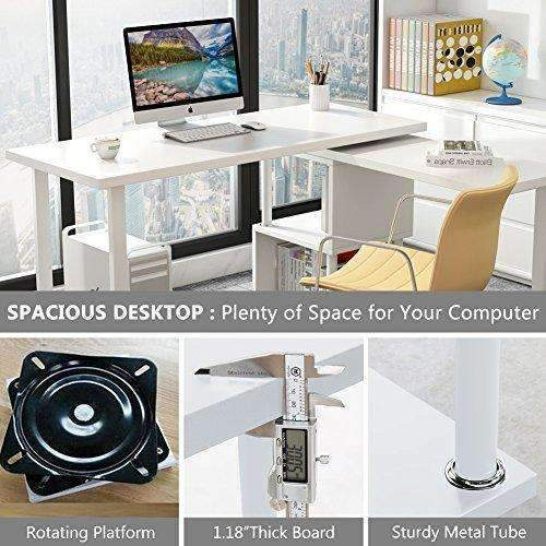 Tribesigns Modern L-Shaped Desk, 360° Free Rotating Corner Computer Desk Writing Desk/Table With Storage Shelves For Home Office (White): Desks & Workstations- Shop MIXXCI