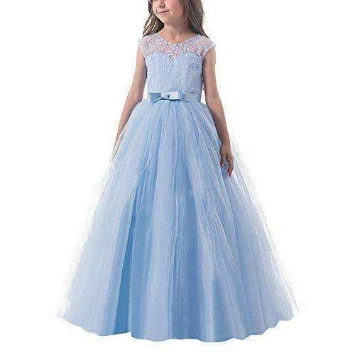 Ttyaovo Girl Sleeveless Chiffon Embroidered Tulle Wedding Party Gown Girls Dress: Girls Clothing- Shop MIXXCI