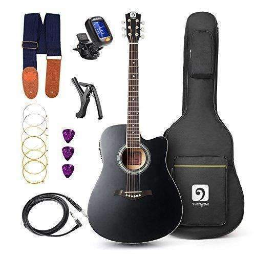"Vangoa - 41"" Full-Size Black Vg-41Ecbk Acoustic Electric Cutaway Guitar With Guitar Gig Bag, Strap, Tuner, String, Picks, Capo: Acoustic-Electric Guitars- Shop MIXXCI"