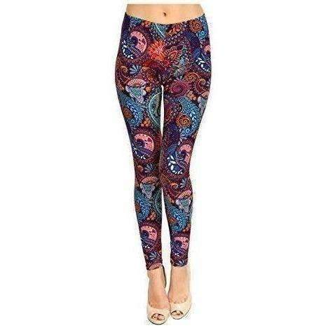 Viv Collection Regular Size Printed Brushed Leggings: Women's Pants- Shop MIXXCI