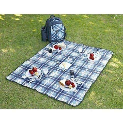 Vonshef - 4 Person Blue Tartan Picnic Backpack With Cooler Compartment, Detachable Bottle/Wine Holder, Fleece Blanket, Flatware And Plates: New- Shop MIXXCI