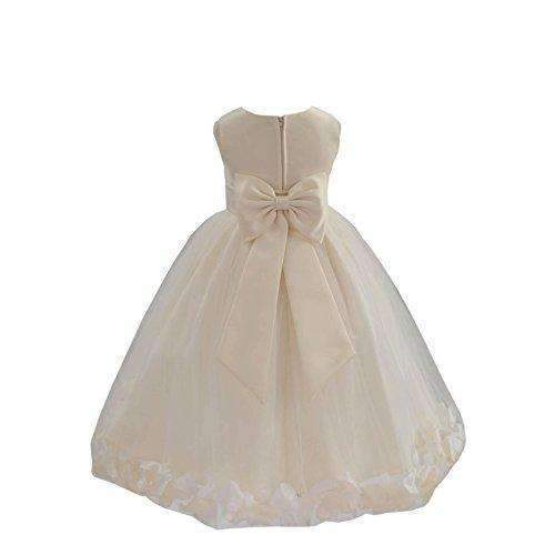 Wedding Pageant Flower Petals Girl Ivory Dress With Bow Tie Sash 302A: Girls Clothing- Shop MIXXCI