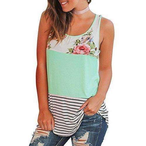 Wftbdream Women'S Summer Sleeveless Floral Print Casual Tank Tops Shirts: Tanks & Camis- Shop MIXXCI