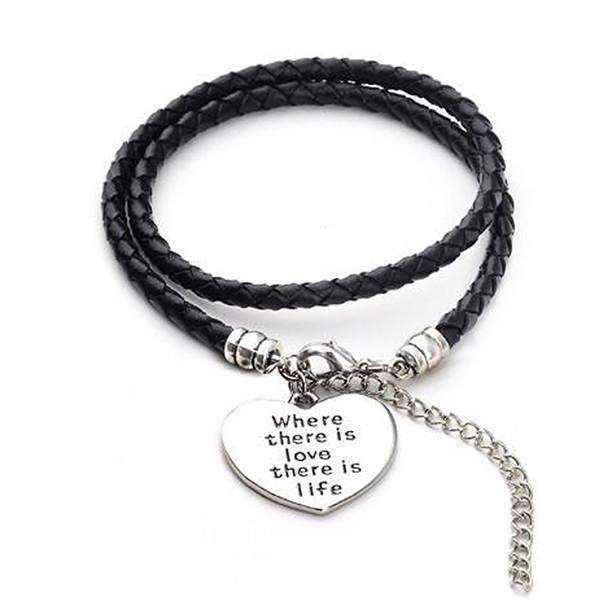 Where There Is Love There Is Life - Hand Stamped Bracelet, Default Title: Womens Bracelets- Shop MIXXCI