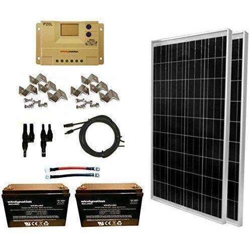 Windynation 200 Watt Solar Panel Kit: 2Pcs 100W Solar Panel + 20A Lcd Pwm Charge Controller + Mc4 Connectors + Mounting Z Brackets + 2Pcs 100Ah Agm Deep Cycle 12V Battery For Off Grid, Rv, Boat: Kit Cabin- Shop MIXXCI