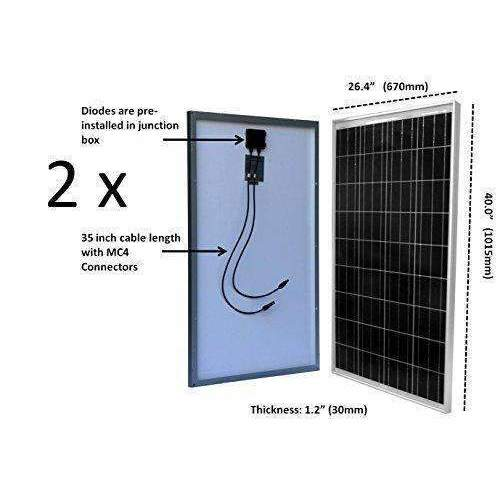 Windynation 200 Watt Solar Panel Kit: 2Pcs 100W Solar Panels + P30L Lcd Pwm Charge Controller + Solar Cable + Mc4 Connectors + Mounting Brackets + 12 Volt Agm Deep Cycle Battery For Off-Grid Rv Boat: Kit Cabin- Shop MIXXCI