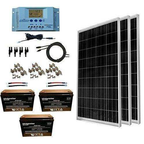 Windynation 300 Watt (3Pcs 100W) 12V Solar Panel Kit W/ Lcd P30L Solar Charge Controller + Solar Cable + Mc4 Connectors + Mounting Brackets + Agm Battery For Rv, Boat, Cabin, Off-Grid 12 Volt: Kit Cabin- Shop MIXXCI