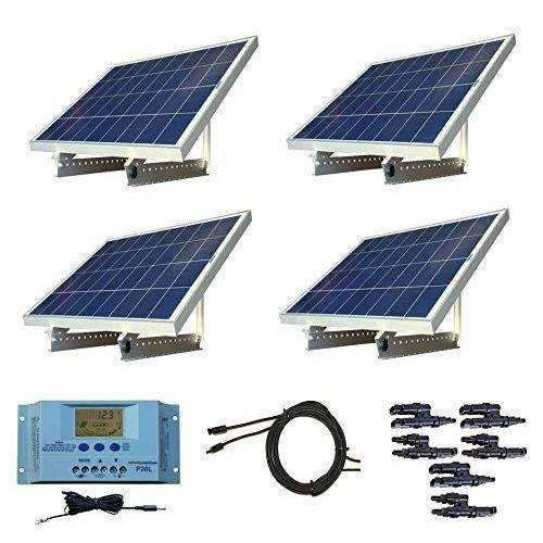 Windynation 400 Watt 12V Or 24V Solar Panel Kit W/ Adjustable Solar Mount Rack And Lcd Charge Controller Rv, Cabin, Off-Grid Battery: Kit Cabin- Shop MIXXCI