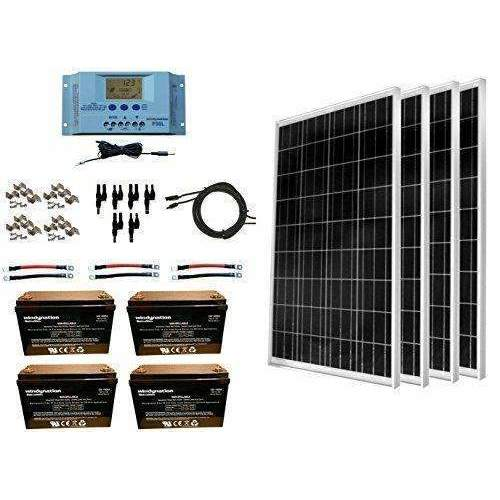 Windynation 400 Watt Solar Kit: 4Pcs 100W Solar Panels + P30L Lcd Pwm Charge Controller + Mounting Hardware + Cable + Mc4 Connectors + Agm Battery For Rv, Boat, Cabin, Off-Grid 12 Volt System: Kit Cabin- Shop MIXXCI