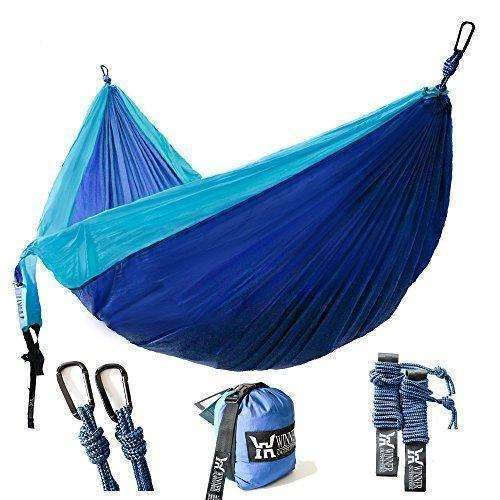 "Winner Outfitters Double Camping Hammock - Lightweight Nylon Portable Hammock, Best Parachute Double Hammock For Backpacking, Camping, Travel, Beach, Yard. 118""(L) X 78""(W): Outdoor Recreation- Shop MIXXCI"