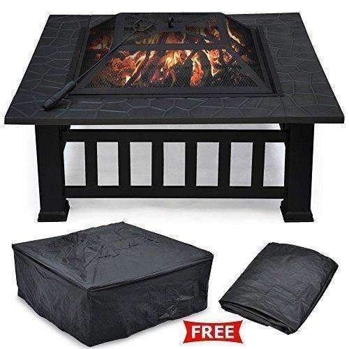 "Yaheetech 32"" Outdoor Metal Firepit Backyard Patio Garden Square Stove Fire Pit With Cover: Fire Pits & Outdoor Fireplaces- Shop MIXXCI"