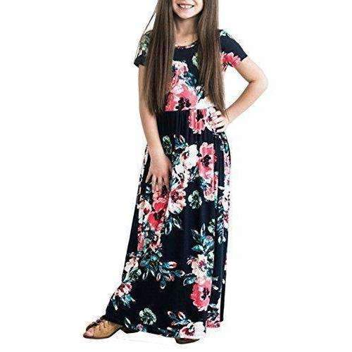 Zesica Girl'S Floral Print Pleated Pockets Short Sleeve Holiday Long Dress: Girls Clothing- Shop MIXXCI