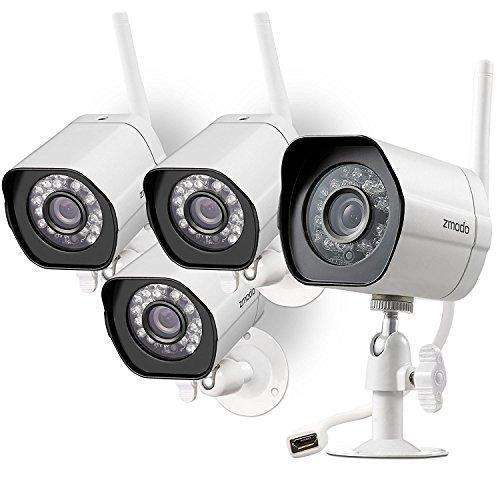 Zmodo Wireless Security Camera System (4 pack) Smart HD Outdoor WiFi IP Cameras with Night Vision: Camera & Photo- Shop MIXXCI