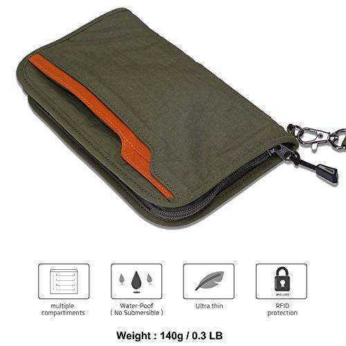 eadac95f92d5 Zoppen Rfid Travel Wallet & Documents Organizer Zipper Case, Family  Passports Holder With Removable Wristlet Strap