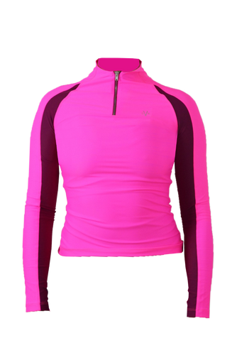 Kitty 1/4 zip Recycled Baselayer (Second Skin/ Teen Fit) - Pink (XS and S will fit children)