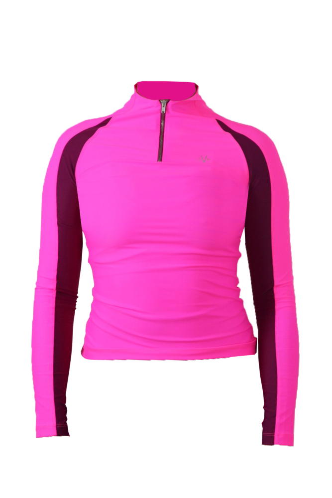 PETITE ONLY XS-M LEFT Kitty 1/4 zip Recycled Baselayer (Second Skin/ Teen Fit) - Pink (XS and S will fit children)