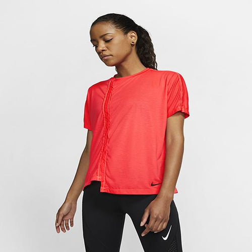 NIKE WOMEN TOP SS REBEL BRIGHT CRISMON
