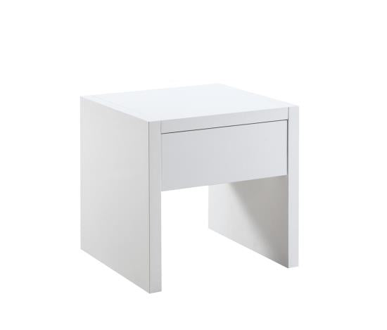 Glossy White End Table
