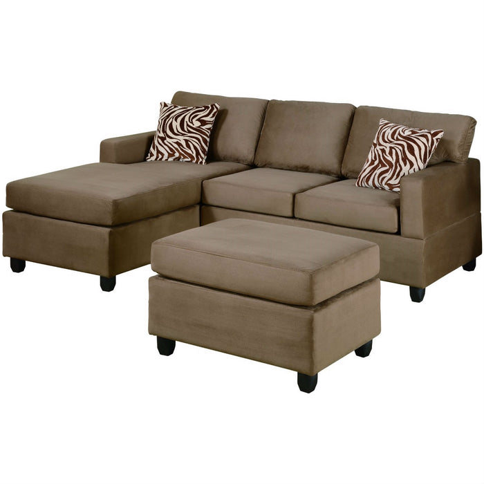 Reversible 3-Piece Sectional Sofa Set in Saddle Color Microfiber ...