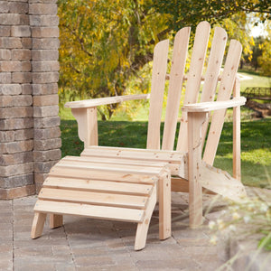 Weather Resistant Unfinished Fir Wood Adirondack Chair And Ottoman Set