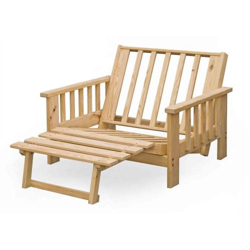 Twin size Futon Lounge Chair Frame in Unfinished Solid Pine Wood ...