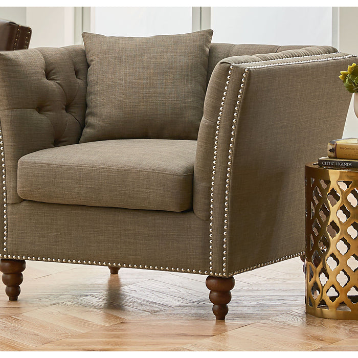 Cream Button Tufted Back Accent Chair