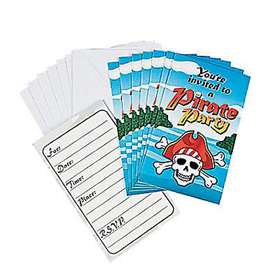 PIRATE PARTY Skull Invitations Invite Envelopes Pack of 8 Invites Free Postage