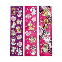DOG FRIENDS PARTY - Cat and Dog Sticker Sheets - pack of 12 strips