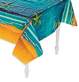 BEACH PARTY Table Cover Palm Tree & Sand Tablecloth Plastic Tablecover Free Post