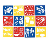 SUPERHERO PARTY Drawing Stencils Favours Stencil Activity Pk of 12 Free Postage